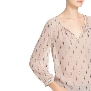 Joie blush pink and metallic silk top